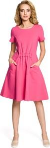 Różowa sukienka MOE z krótkim rękawem z bawełny