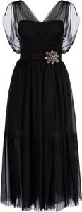 Czarna sukienka Pinko midi z krótkim rękawem z dekoltem w kształcie litery v