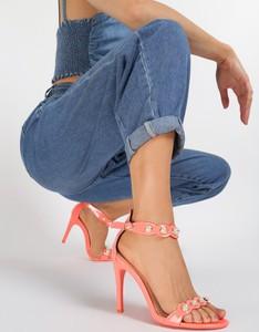 Pomarańczowe sandały renee na szpilce