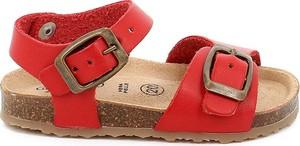 Czerwone buty dziecięce letnie Grünland ze skóry na rzepy