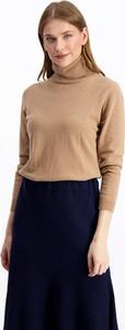 Brązowy sweter Lavard w stylu casual z wełny