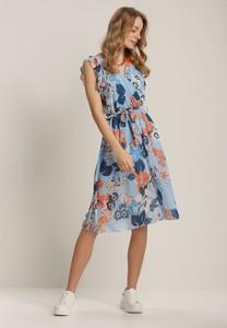 Niebieska sukienka Renee midi z okrągłym dekoltem