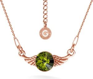 GIORRE SREBRNY NASZYJNIK SKRZYDŁA SWAROVSKI RIVOLI 925 : Kolor kryształu SWAROVSKI - Olivine, Kolor pokrycia srebra - Pokrycie Różowym 18K Złotem