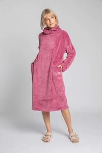 Różowa sukienka MOE z długim rękawem z golfem maxi