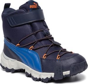 Niebieskie buty dziecięce zimowe Puma na rzepy