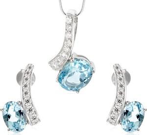 Braccatta NINA ; Komplet srebrnej biżuterii z blue topaz