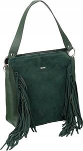 Zielona torebka Rovicky z frędzlami zamszowa z zamszu