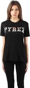 Czarna bluzka Pyrex w młodzieżowym stylu z bawełny