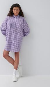 Fioletowa sukienka House mini z kołnierzykiem z długim rękawem