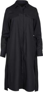 Czarna sukienka Veva szmizjerka z długim rękawem