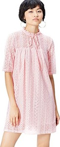 Różowa sukienka amazon.de mini z długim rękawem