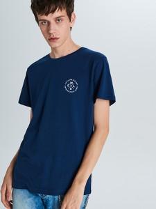 Granatowy t-shirt Cropp z krótkim rękawem
