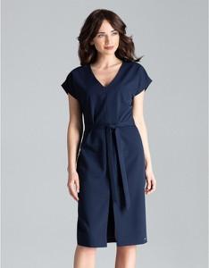 Niebieska sukienka LENITIF midi z krótkim rękawem