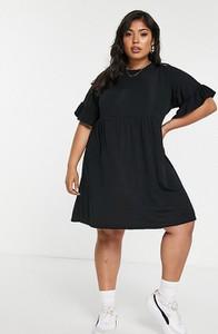 Czarna sukienka Missguided w stylu casual z krótkim rękawem