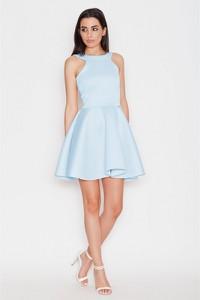 Niebieska sukienka Katrus z dekoltem halter mini rozkloszowana