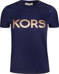 Niebieski t-shirt Michael Kors z krótkim rękawem z okrągłym dekoltem w stylu casual