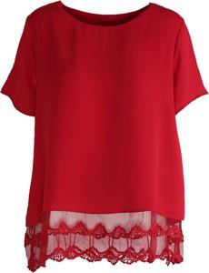 Born2be czerwona bluzka lace ruffle