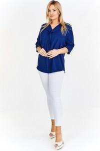 Niebieska bluzka Domino Styl z długim rękawem