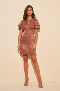Brązowa sukienka Trendyol z krótkim rękawem