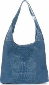 Niebieska torebka Vera Pelle duża na ramię