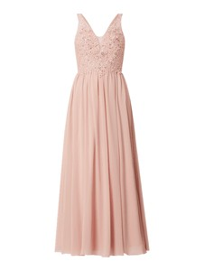 Różowa sukienka Laona z tiulu maxi