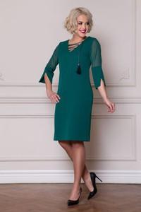 Zielona sukienka Roxana - sukienki z dekoltem w kształcie litery v