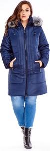 Niebieska kurtka TAGLESS długa w stylu casual