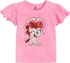 Różowa bluzka dziecięca Cool Club z krótkim rękawem z bawełny dla dziewczynek