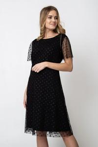 Czarna sukienka QUIOSQUE midi z krótkim rękawem