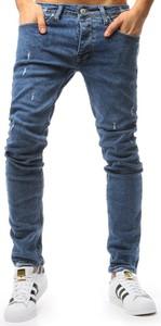 Niebieskie jeansy Dstreet w street stylu z jeansu