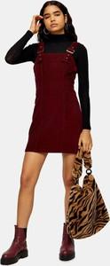 Czerwona sukienka Topshop z golfem z długim rękawem w stylu casual