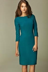 Sukienka Nife midi dopasowana z długim rękawem