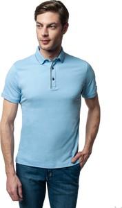 Niebieska koszulka polo Recman z krótkim rękawem