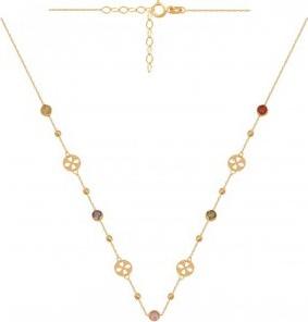 Lovrin Złoty naszyjnik 585 z kuleczkami,kolorowymi kamieniami i wycinanymi kółeczkami.