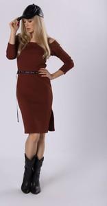 Czerwona sukienka Moda Dla Ciebie z długim rękawem z bawełny