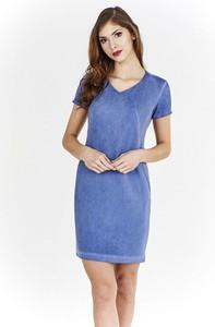 Niebieska sukienka Fokus w młodzieżowym stylu z krótkim rękawem kopertowa