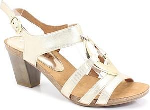 Złote sandały Caprice na średnim obcasie
