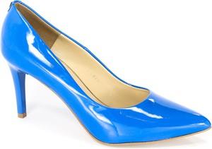 Niebieskie szpilki Sala na wysokim obcasie ze spiczastym noskiem w stylu klasycznym