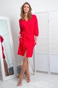 Czerwona sukienka Fimfi mini z długim rękawem