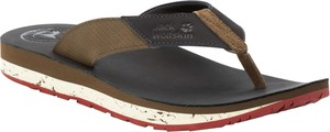 Brązowe buty letnie męskie Jack Wolfskin ze skóry