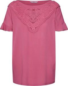 Różowa bluzka Only z dżerseju z krótkim rękawem