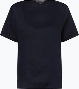 Granatowa bluzka Franco Callegari z krótkim rękawem z okrągłym dekoltem