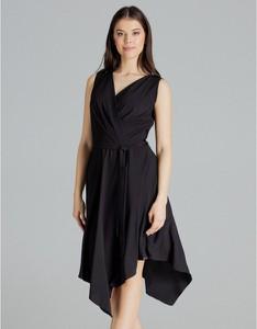 Czarna sukienka LENITIF z dekoltem w kształcie litery v midi