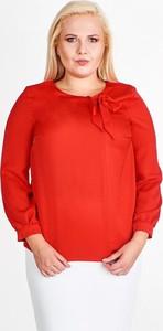 Czerwona bluzka Fokus w stylu klasycznym z okrągłym dekoltem