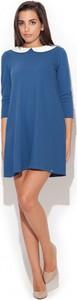 Niebieska sukienka Katrus z długim rękawem w stylu casual z okrągłym dekoltem