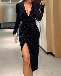 Sukienka Kendallme z długim rękawem z dekoltem w kształcie litery v maxi