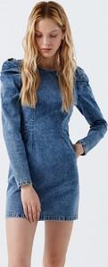 Sukienka Cropp mini z jeansu z długim rękawem