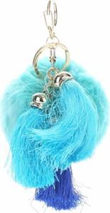 Pink Accessori Brelok do Torebki Pompon z Frędzlami z Naturalnego Włosa Niebieski Akcesoria dodatek do torebki (kolory)