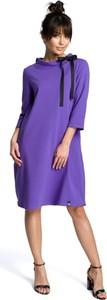 Fioletowa sukienka Be w stylu casual z długim rękawem z okrągłym dekoltem