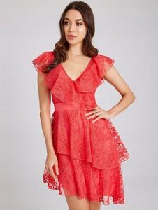 Czerwona sukienka Little Mistress z tiulu z krótkim rękawem mini